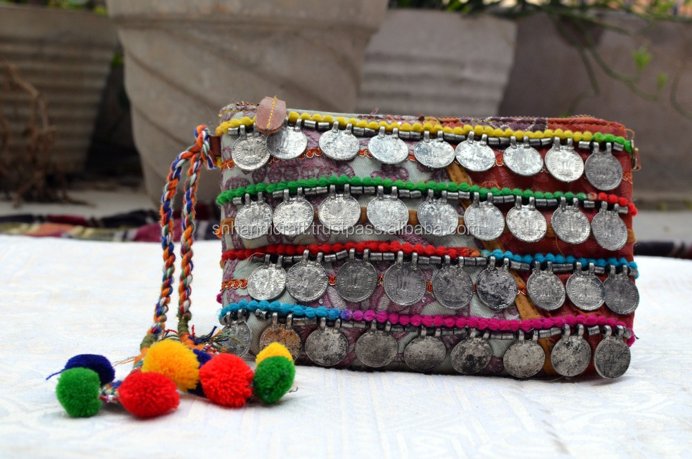 boho hand clutch bag hippie gypsy handmade bag indian coins clutch shoulder bag with pom pom tassel accessory