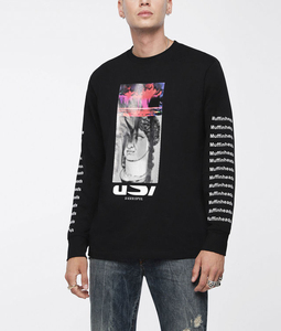 OEM 100% Cotton Digital Printing Men T Shirt Punk Style Repeated Lettering Long Sleeves Graphic Tee