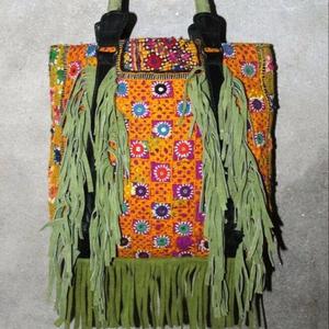 17165c69f665 Kutchi Embroidery Mirror Work Tribal fabric Handbag Banjara style Gypsy  Shoulder Bag Hippie