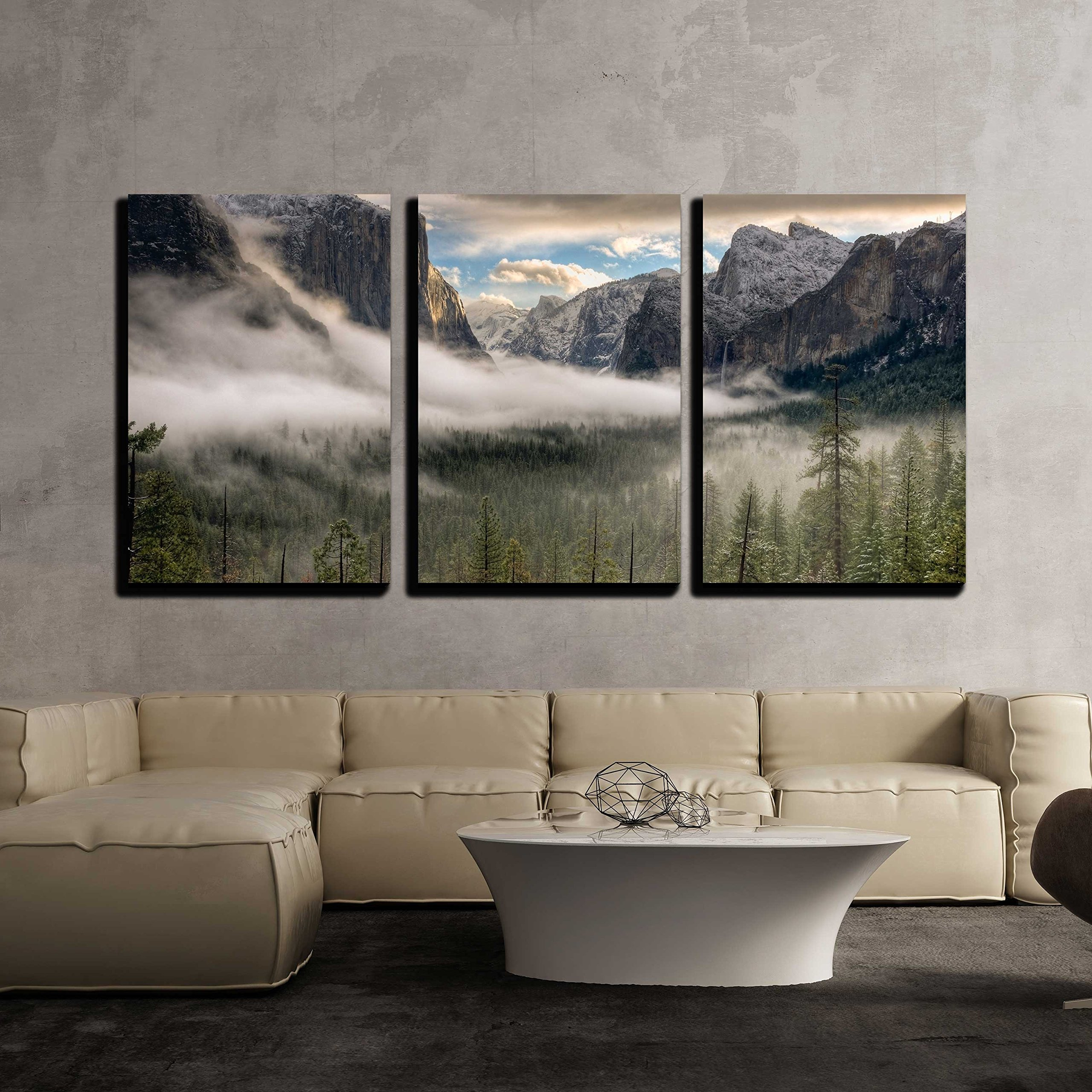 "wall26 - 3 Piece Canvas Wall Art - The sun peaks over the Sierras for its first glimpse of the Yosemite Valley. - Modern Home Decor Stretched and Framed Ready to Hang - 24""x36""x3 Panels"