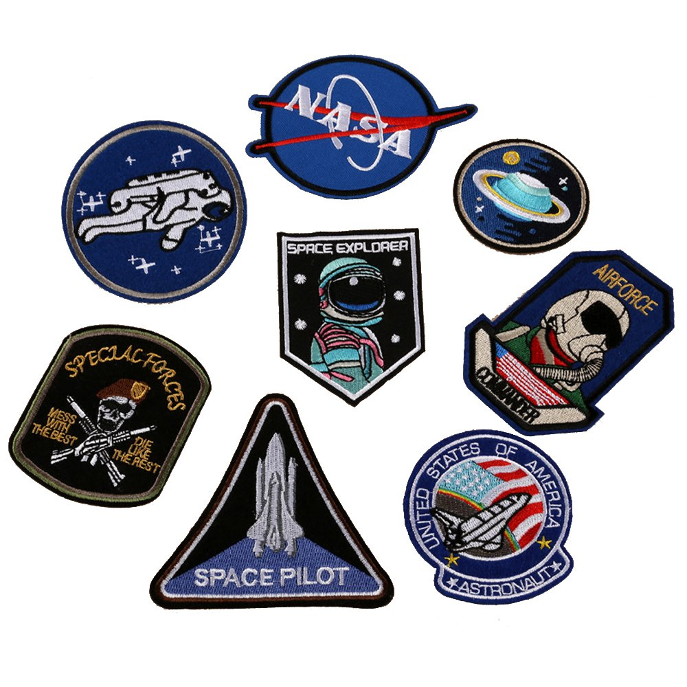 WZT 8 PCS Super save pack set patch , Space Explorer Patch,Airforce Pacth, NASA Patch Logo, Astronaut Patch, It is what it is Patch Embroidered Iron On / Sew On Patches for Jeans, clothing