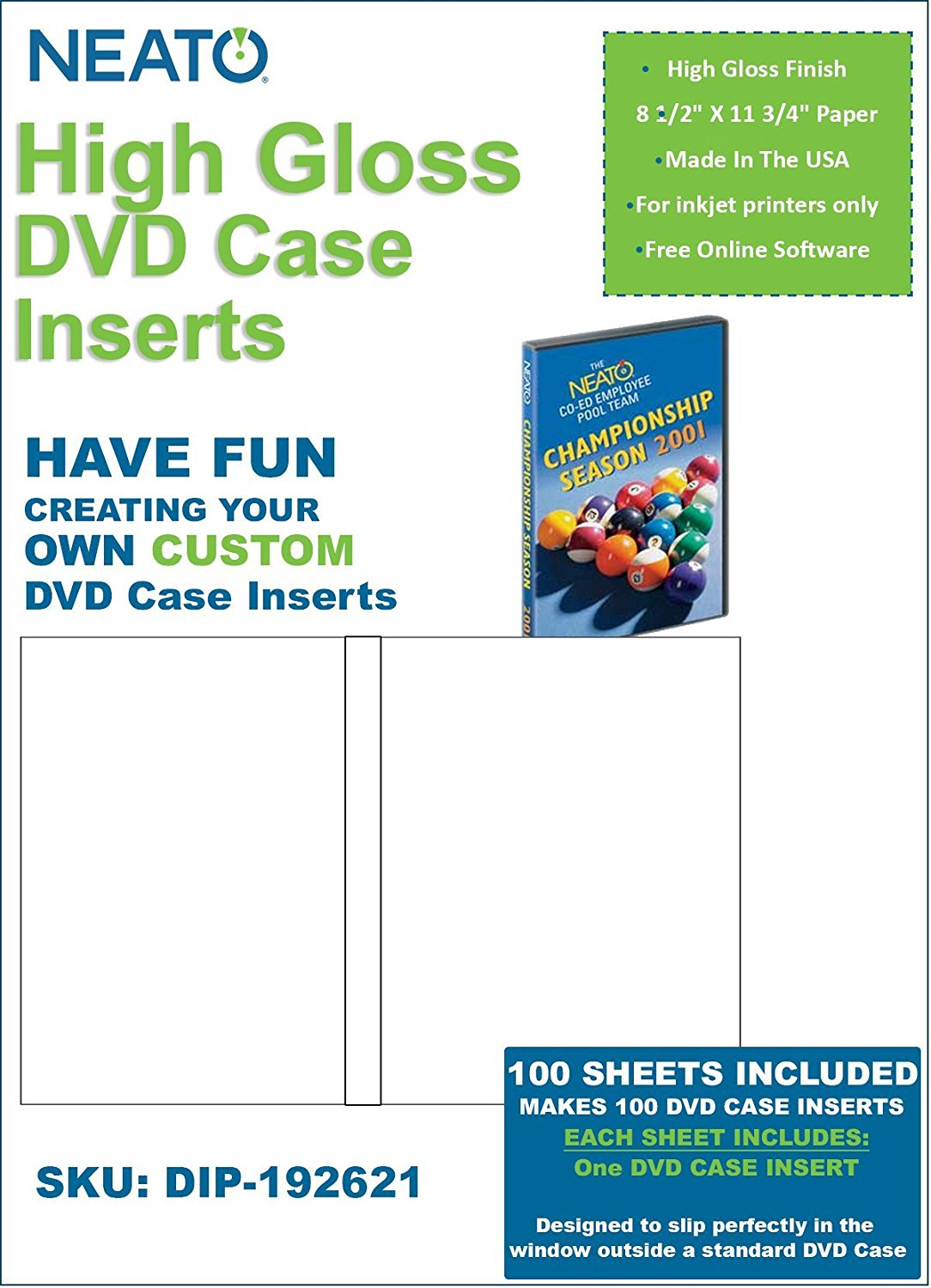 Neato High Gloss DVD Case Inserts – 100 Sheets to make 100 DVD Case Inserts