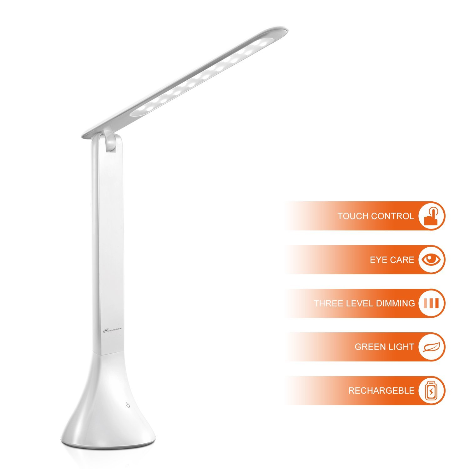 Moobibear Dimmable LED Desk Lamps 3 Level Brightness Touch-Sensitive Switch Small Daylight Folding Portable Table Reading Cordless Lamps White with Li-ion Rechargeable Battery USB Charger
