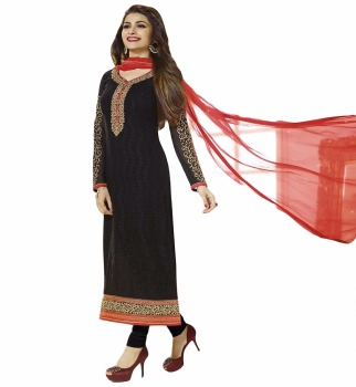 b1314f9623 Women's Semi-Stitched Black Colour Georgette Salwar Kameez / Party Wear  Resham Embroidered Salwar Kameez