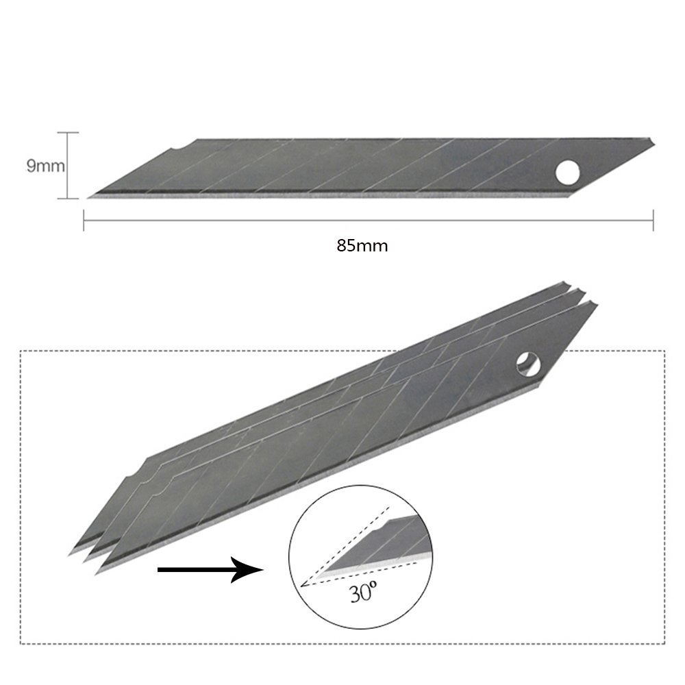 10-Pack Set (10pc/pack) (Total 100pc) Box Cutter Utility Knife Replacement Blades, Precision Pointed Cutting Edge