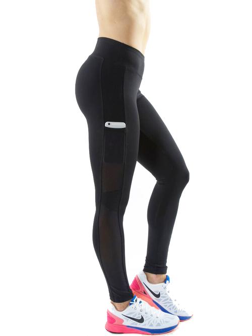 fed9b928371f5 New Design Mesh Tights, Custom Side Pocket Yoga Pants , Wholesale Fitness  Black Colour Capri
