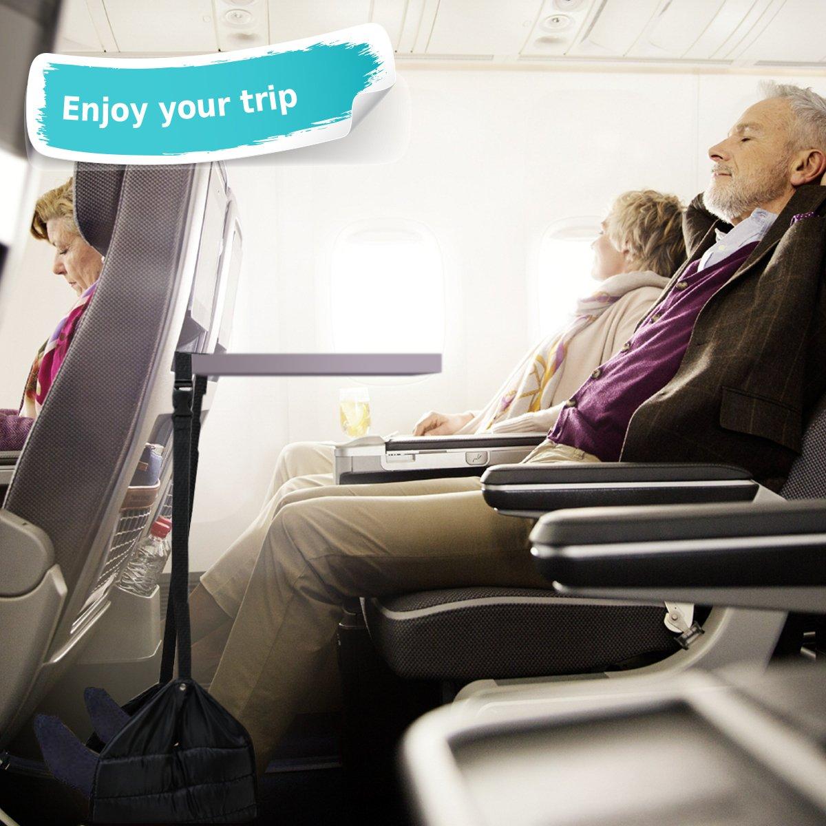 Magift Travel Footrest For Airplane, Portable Foot Rest Flight Foot Rest Hammock Feet Rest For Plane Desk Office(Black)