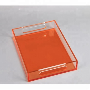 Laser Cutting Plastic Rectangular Serving Tray Acrylic Bottle Display Tray