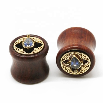 2018 new unique designs wood plugs body jewelry with teardrop gem