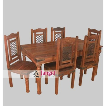 Iron Grill Fitted Sheesham Wooden Dining Table And Chair Set Home Furniture
