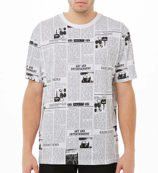 092ff6a5 Customized Summer Cotton Fashion Short Sleeves Allover Newspaper Print  Graphic Men T Shirt