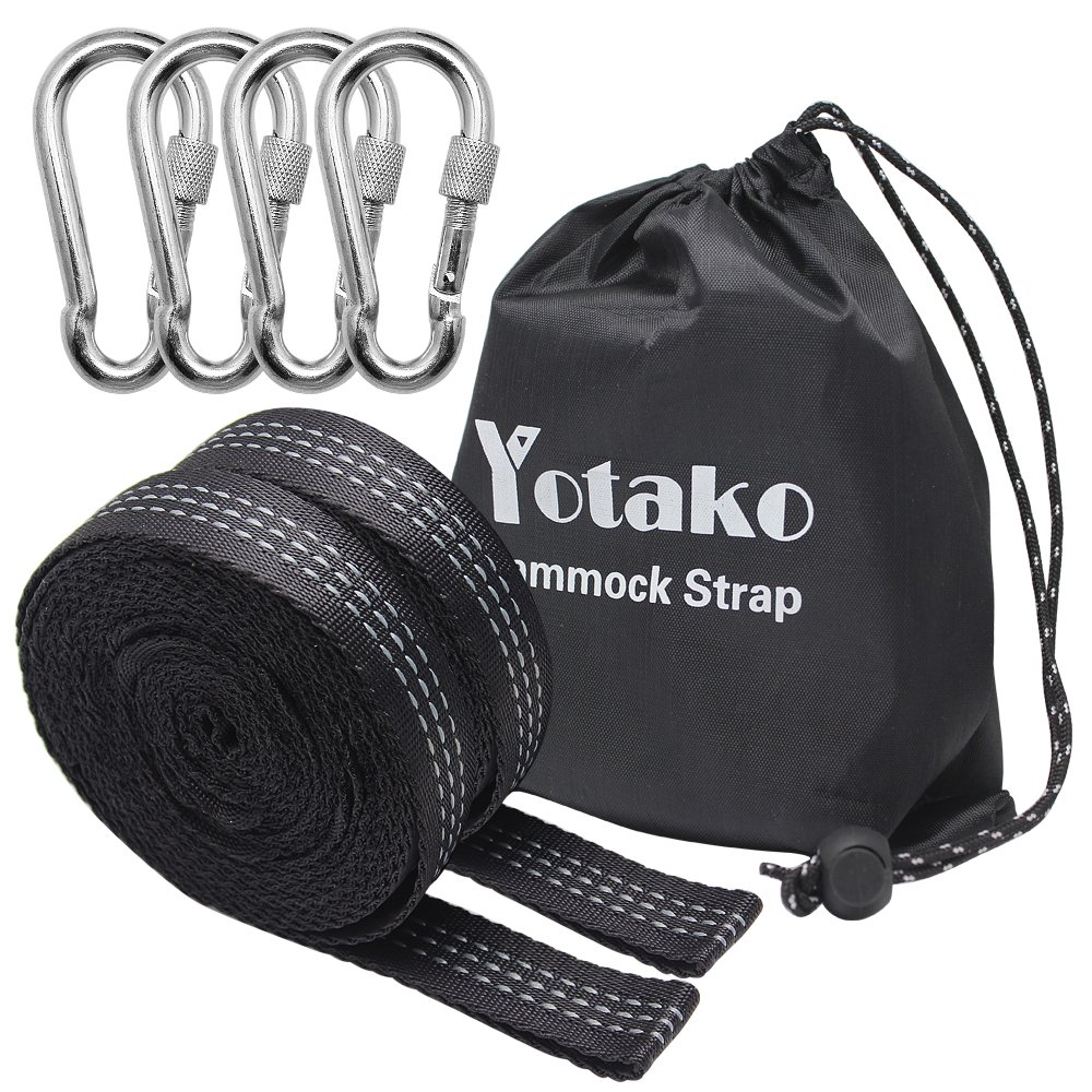 Yotako 2 Pack Hammock Tree Straps, Heavy Duty Camping Hammock Adjustable Polyester Suspension Straps 700lbs,Breaking Strength with 19 Loop - 4 Carabiners and Carrying Bag Included