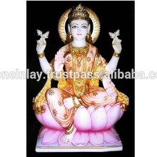 Decorative Marble Maa Lakshmi Sitting On Lotus Murti