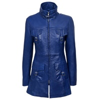 genuine cowhide leathers made women blue long fashion wear top best quality motorcycle leather jackets 2019