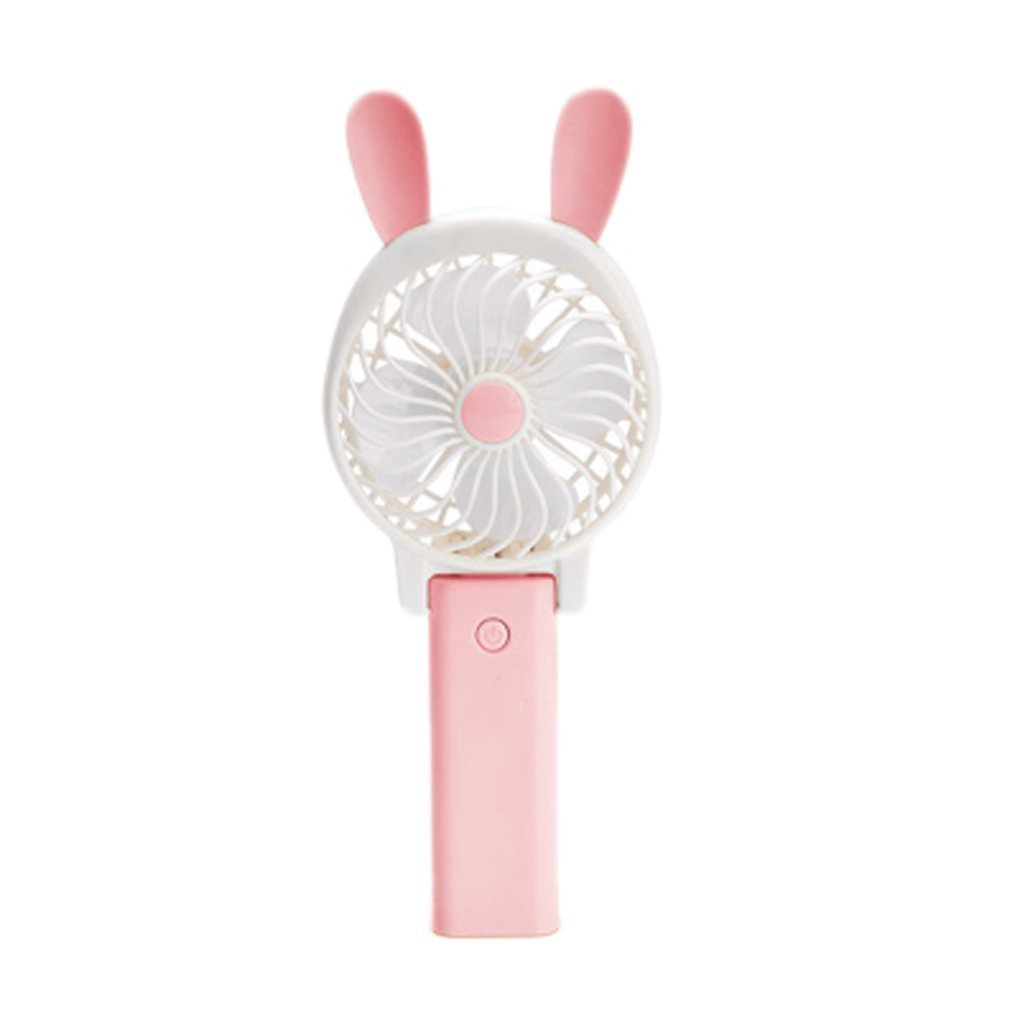 YOLOPLUS Mini Multipurpose Collapsible Portable Fan Clip Fan Desktop Fan Handheld Fan Outdoor Fan with Rechargeable Battery For Home and Travel (Rabbit Ear Pink)