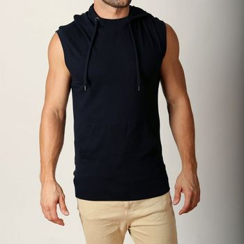 03a5b8c569bcf Black Men Hoodie Gym Wear Casual Wear Sleeveless Hoodie - Buy ...
