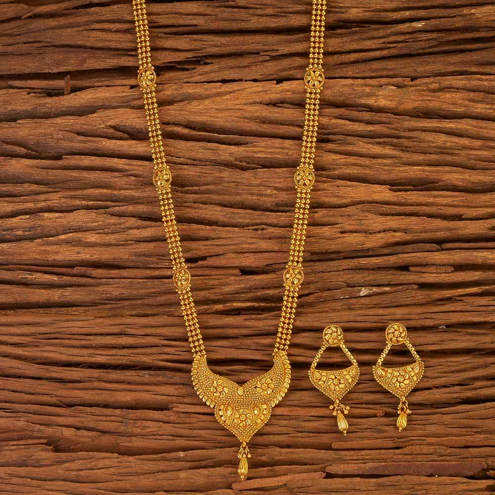 Handmade Design Antique Long Necklace Set with Gold Plated 17604 Gold