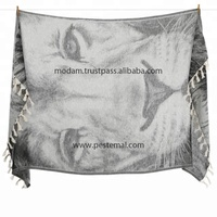 Private Label Custom Made Peshtemal Towel Fouta Pareos with Cool Lion Patterned Design and Terry Microfiber Cloth %100 Cotton