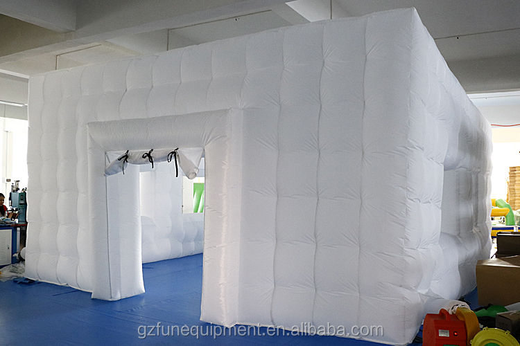 Hot sale factory price manufacture 20*10m commercial inflatable cube tent inflatable photo booth with LED light for rental