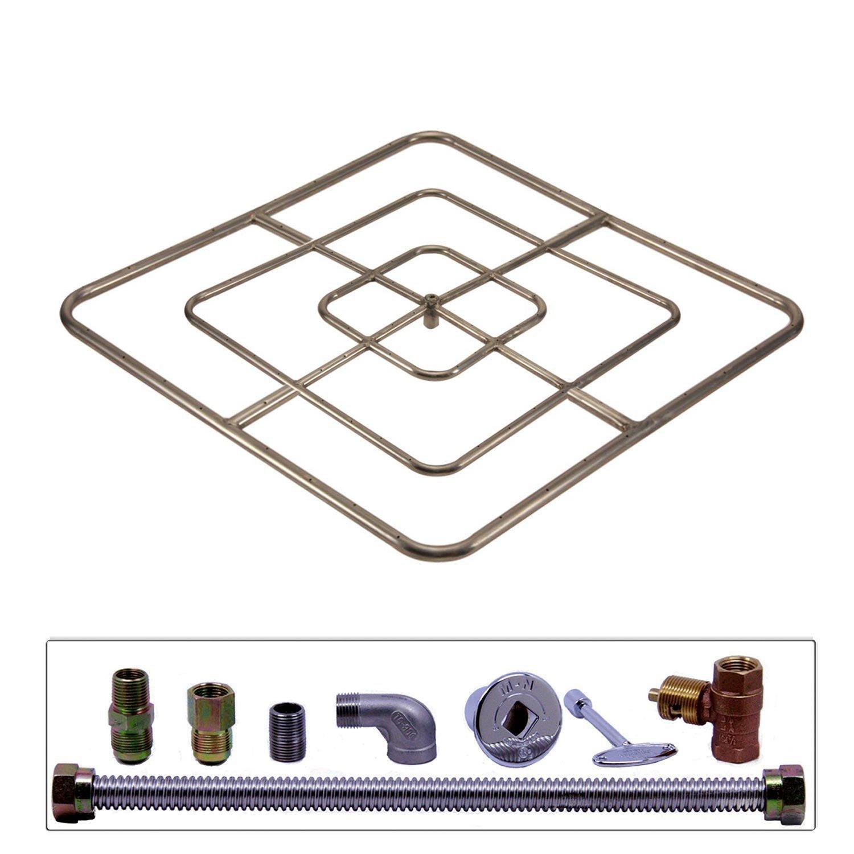 Spotix HPC Square Fire Pit Burner Kit (FPSSQ48HCKIT-LP-MSCB), 48x48-Inch Burner, Match Light, Propane