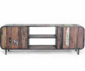 Industrial Look Tv Stand Recycle Metal Tv Unit Tv Unit With Wheels