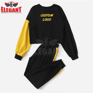 Multicolor Color block Pullover and Contrast Side seam Sweatpants Round Neck Set Women Autumn Elegant Work wear Two piece suits