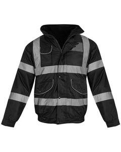Hi Vis Visibility Bomber Workwear Security Hooded Waterproof Work Wear Jacket/security guard winter jacket