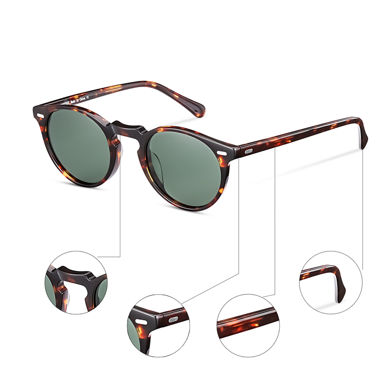6233f6acfe3 Retro Round Polarized Sunglasses For Men and Women Vintage Driving ...