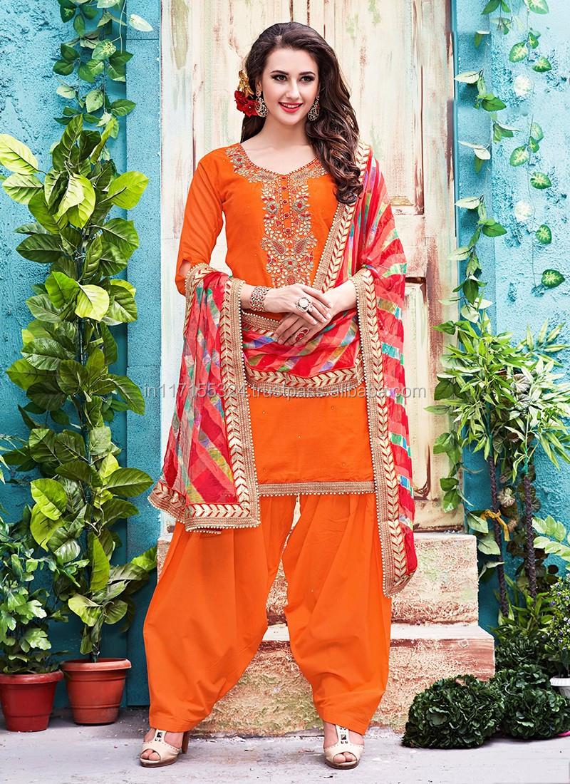 ae5eb408b9 Phillauri Sky Blue Chanderi Party Wear Heavy Gota Patti Work Patiala Suit