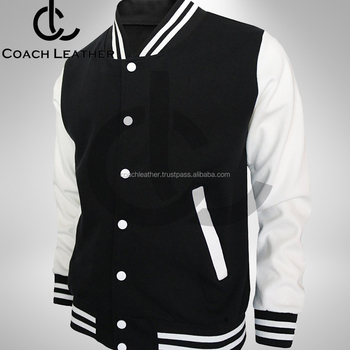 2018 Best Design Baseball Black And White Sleeve Wool Varsity Jacket