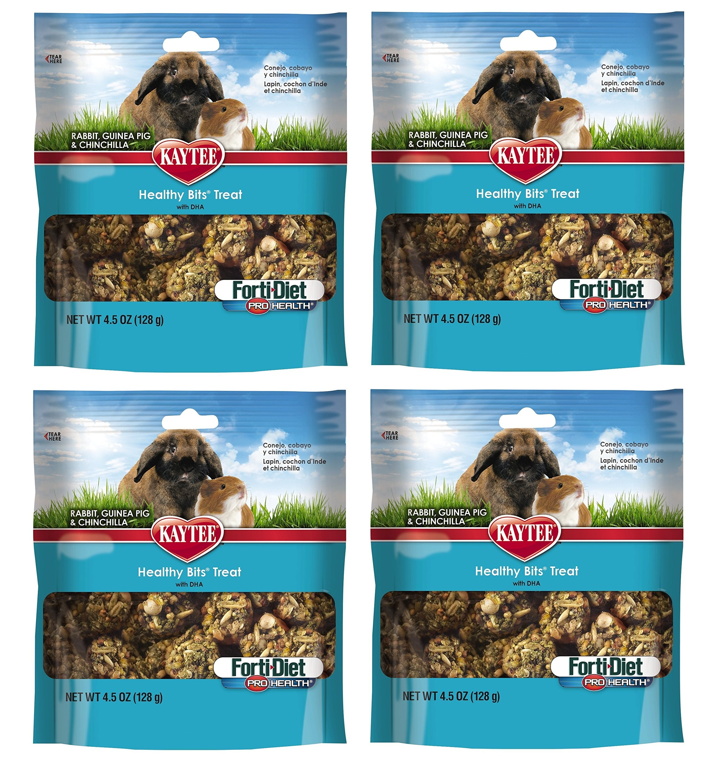 (4 Pack) Kaytee Forti-Diet Pro Health Healthy Bits Rabbit, Guinea Pig and Chinchilla Treat 4.5oz