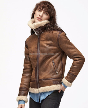 d1addac17ecb9 Factory direct wholesale fashion ladys wool lamb sheared leather fur jacket