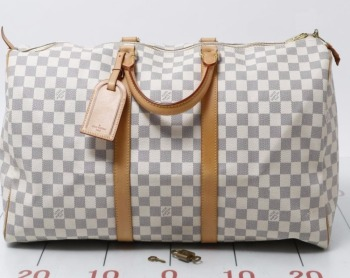 Used original branded LOUIS VUITTON N41430 Damier Azur Keepall 50 Handbags  for bulk sale. e9fdb654e1f6b