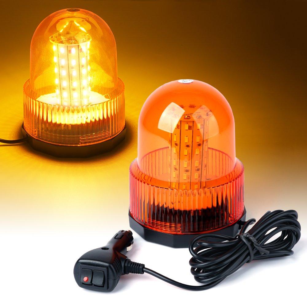 Xprite Super Bright Amber/Yellow Rotating Revolving LED Beacon Strobe Light,with Magnetic Mount, 60LEDs 12W Emergency Warning Caution Flashing Light for Snow Plow Truck UTV 12v Vehicle
