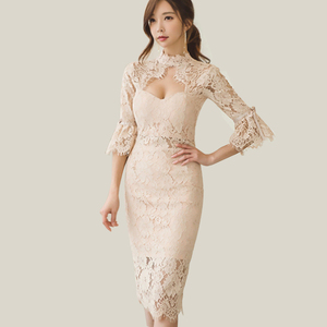 fashion trumpet sleeves lace ladies party dress