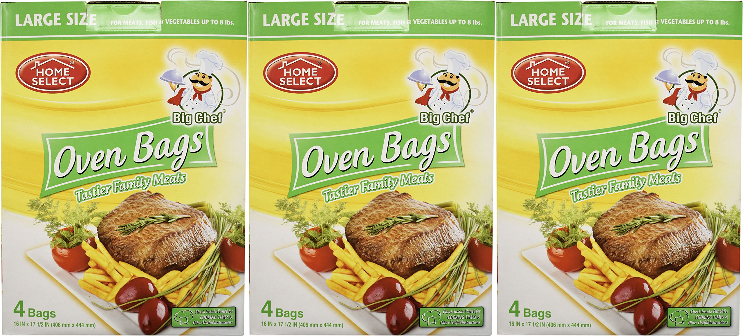 Set of 24 Big Chef Large Size Oven Bags! For Meats, Fish, and Vegetables Up to 8 Pounds! Makes Food Juicer and Tastier! No More Messy Clean-Ups! (24)