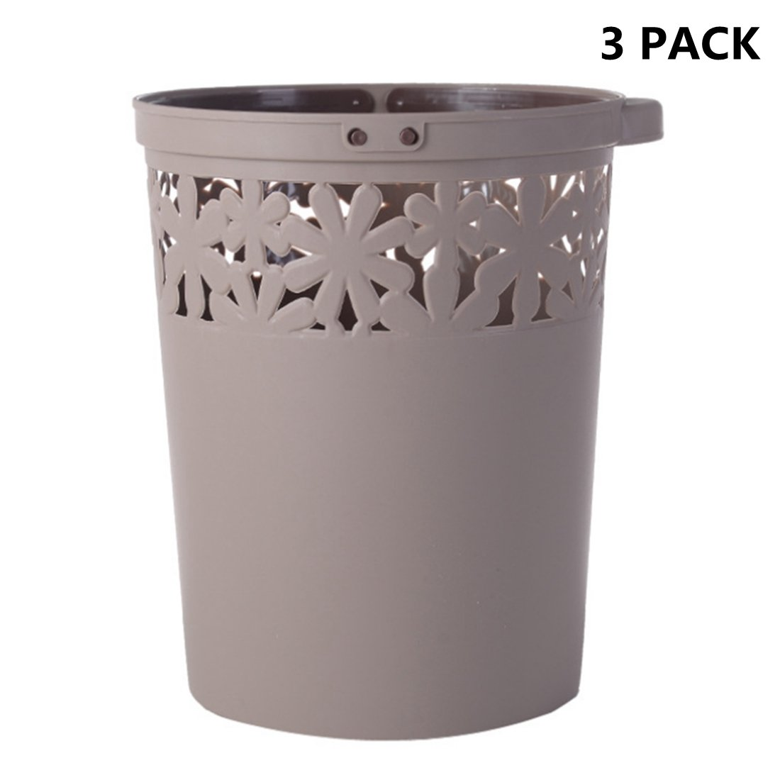 3 Pack Waste Bins, XSHION Waste Paper Baskets with Handle Kitchen Trash Can Office Garbage Bins SMALL (3 Pack Coffee)