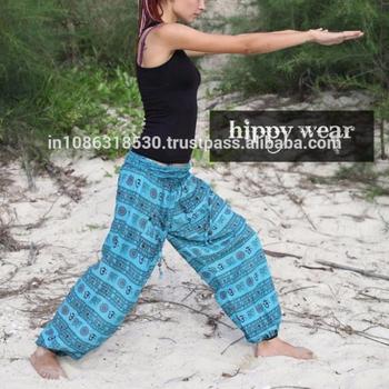 073f616b54 Harem Gypsy Genie Aladdin Pants Secret Santa Om Aum Blue Yoga Cotton Boho  pant Gypsy Hippie