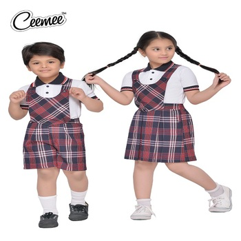 New Style Children Wear School Uniform With T Shirt And Dungaree