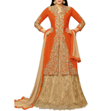 Zari Embroidery and Stone Work Orange Color Two in One Salwar Suit