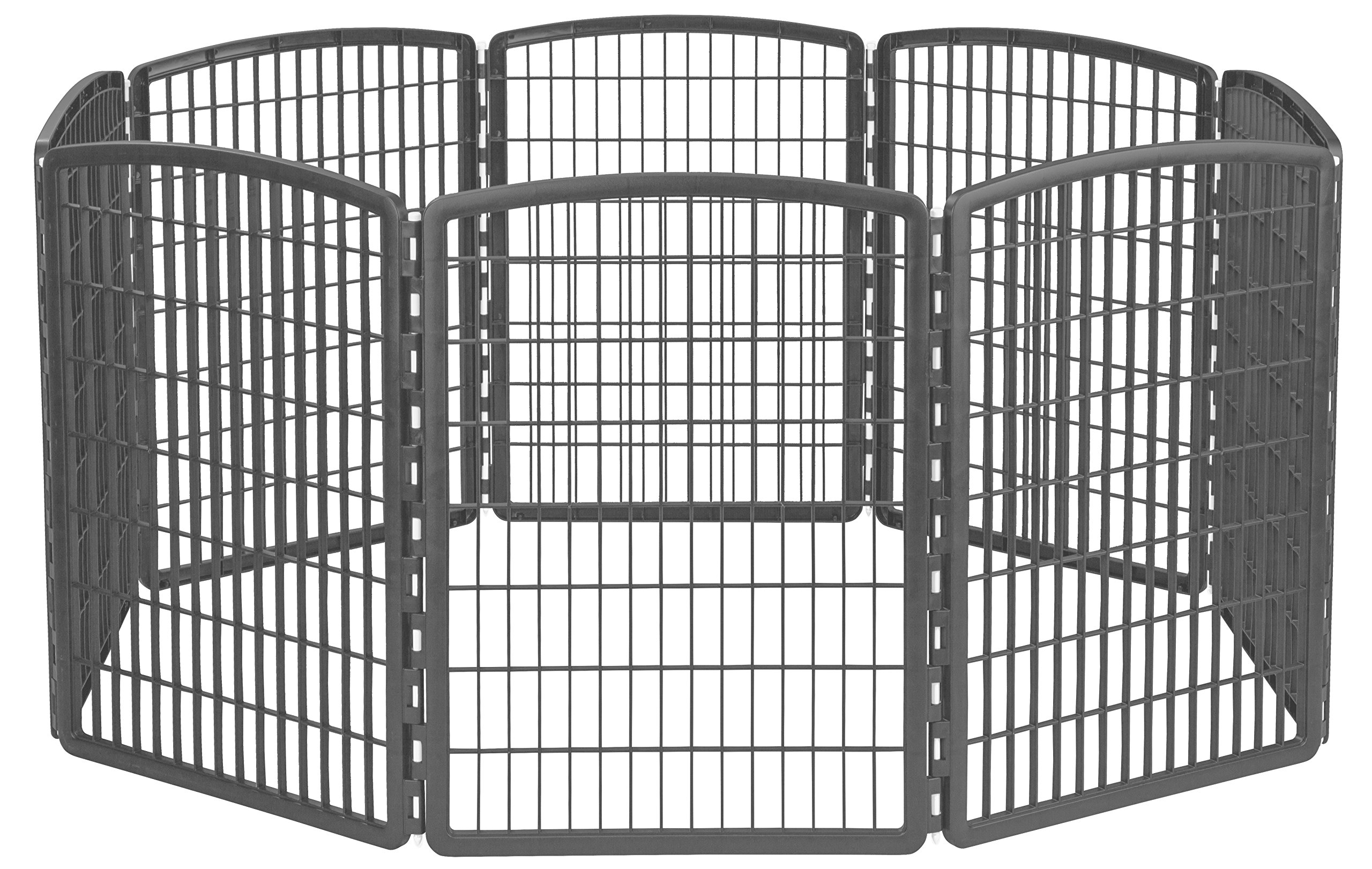 IRIS 34'' Exercise 8-Panel Pet Playpen without Door, Dark Gray