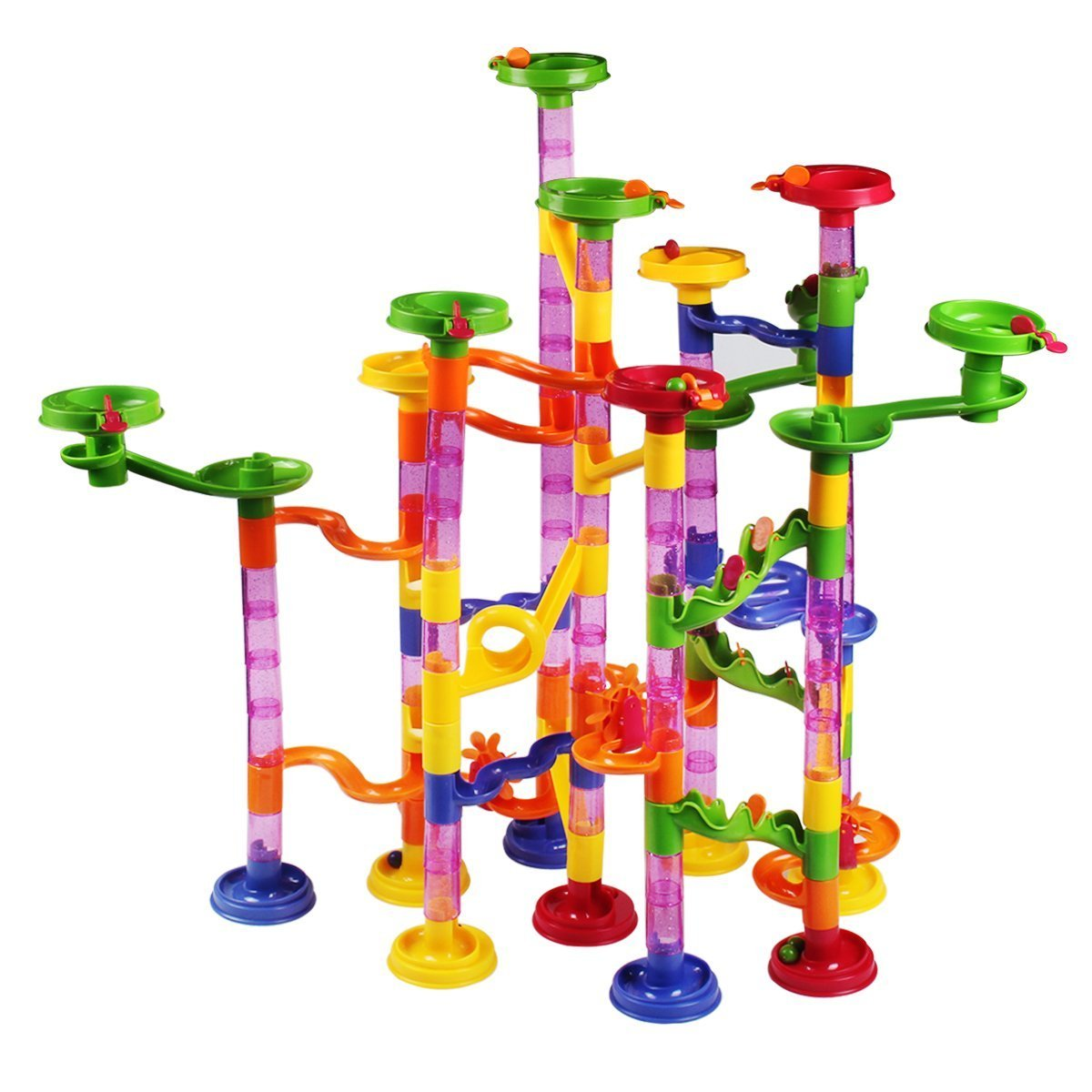 Welcomy Marble Runs Toy Set, 105 Pieces 30 Glass Pipeline Game STEM Learning Toy, Educational Construction Building Blocks Toy Set for Kids
