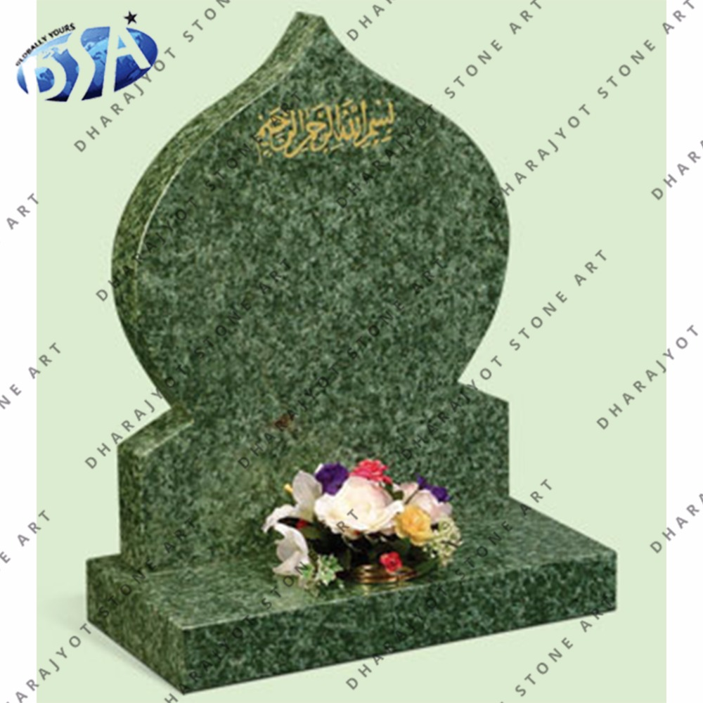 Green Marble Antique Shaped Tombstone and Monument