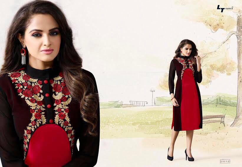 latest designer branded kurtis party wear one piece top salwar kameez high quality export material black red colour best price