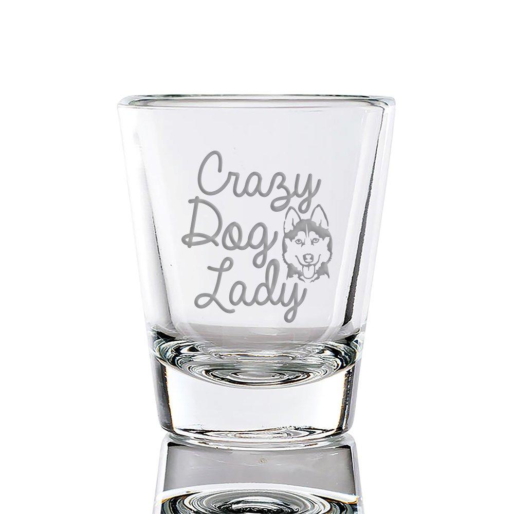 Crazy Dog Lady Siberian Husky Engraved Fluted Shot Glass