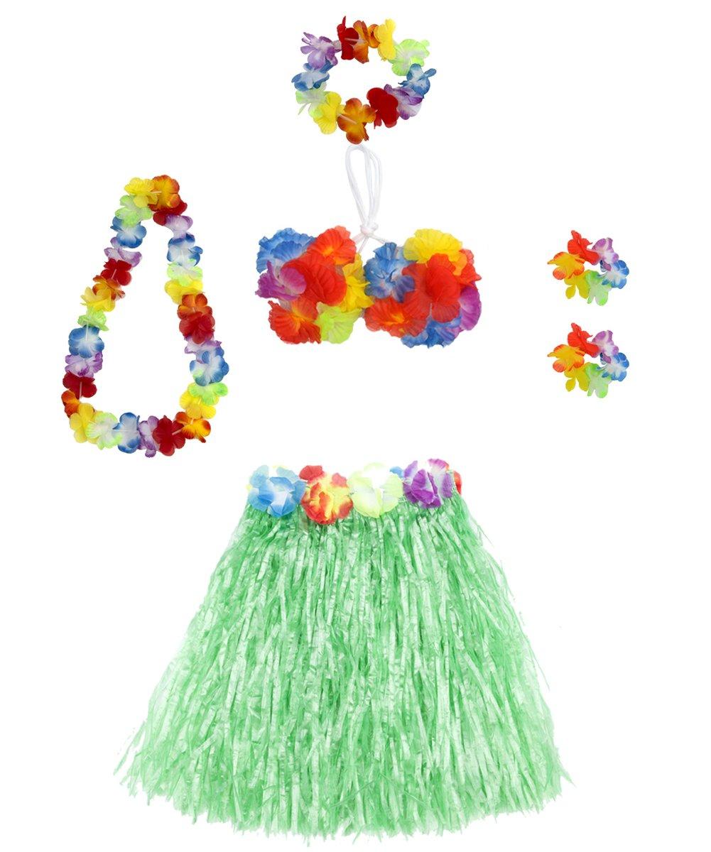 a20a094c3c98 Get Quotations · 6 Pieces Girl's Hawaiian Hula Skirt fedio Grass Skirt set  with Hawaiian Luau Party leis and
