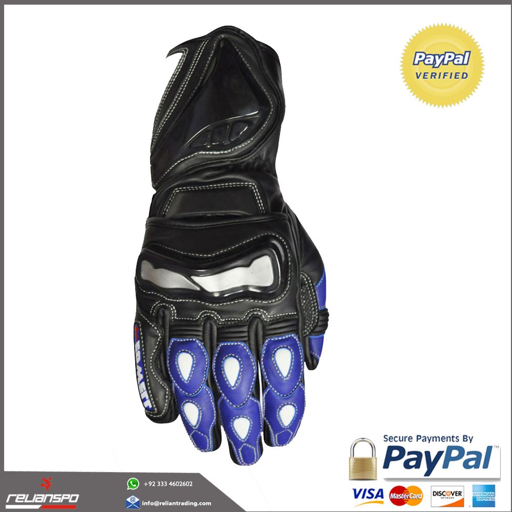 leather motorbike gloves with knuckle protection on palm & back