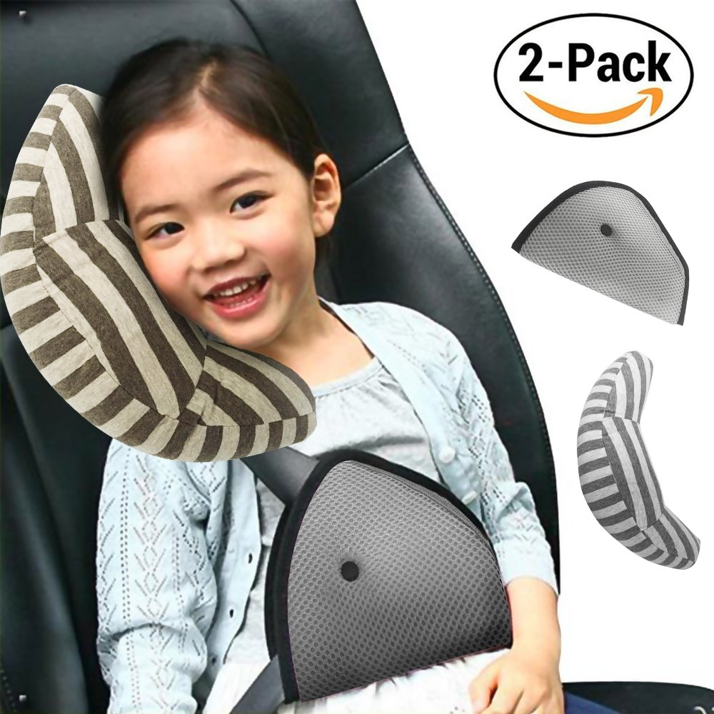 Car Seat Travel Pillow,ICENN Neck Support Shoulder Cushion Pad and Seatbelt Adjuster for Kids, Safety Belt Sleeping Pillow and Adjuster for Cars, Safety Strap Covers 2 PCS