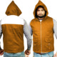 Orange Casual Cotton Vest with Hood, Streetwear Cotton Sleeveless Hoody, Hooded Spring Vest with Box Pockets