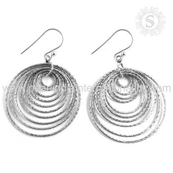 Round shape girls earrings 925 sterling silver earring handmade craft silver  jewelry indian silver earrings jewellery ec8f31331e9b
